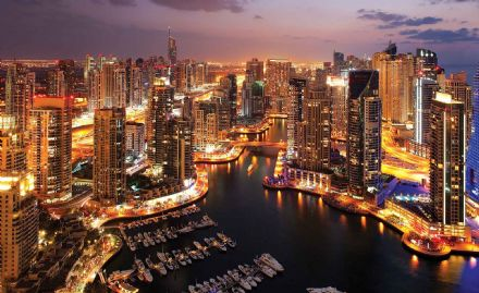 Easy install - wallpaper mural City Dubai Marina Skyline 1671VEXXL